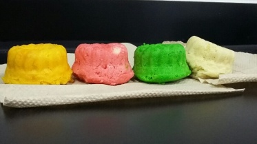 White is baking powder, red is Tartaric acid, green is citric and yellow is acetic
